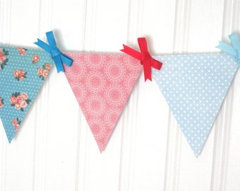 Retro Sewing-Themed Pink and Blue Paper Pennant Banner Decoration for Tea Party, Baby Shower, Wedding, or Shabby Chic Decor