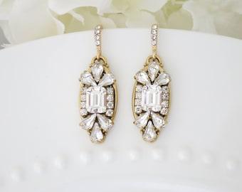 Art Deco wedding earrings, Emerald cut Swarovski crystal bridal earrings, Gold wedding earring, Rhinestone dangle earring, Crystal earring