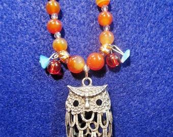 "20"" Owl Necklace with Burnt Orange Beads"