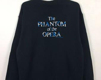 "Vintage Rare The Phantom Of The Opera Sweatshirt Jumper Spell Out Musical Andrew Lloyd Webber Black Color Chest 23"""
