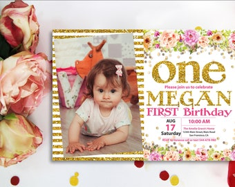 GIRLS FIRST BIRTHDAY Invitation Pink and Gold Glitter. Watercolor Floral 1st Birthday Invitation for Girl Pink and Gold. Printable Digital