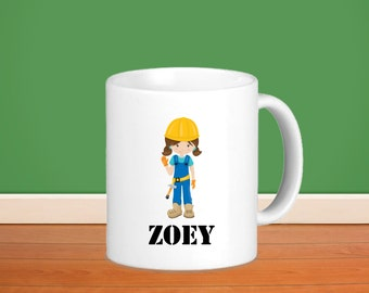 Construction Kids Personalized Mug - Construction Worker Girl with Name, Child Personalized Ceramic or Poly Mug Gift