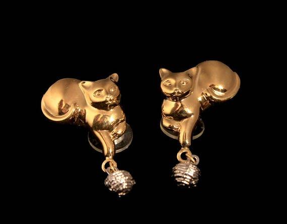 Avon Cat Earrings, Goldtone, Post Style Earrings, New In Box, 1990, Cat Lovers Earrings, Fashion Jewelry, Costume Jewelry