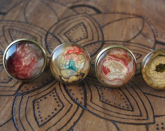 Handpainted adjustable rings, high quality glass cabochons