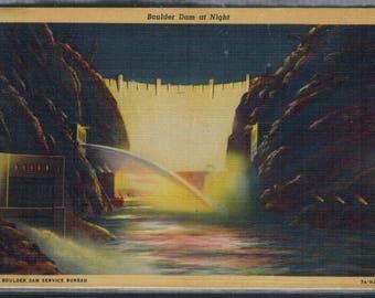 Vintage Boulder Dam At Night Used Linen Postcard Postmarked 1937