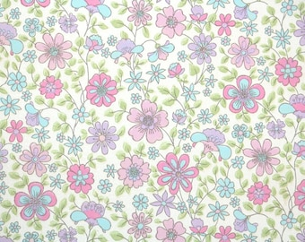 Retro Wallpaper by the Yard 60s Vintage Wallpaper - 1960s Pink Blue and Lavender Floral
