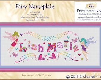 Customized Fairy Sampler// Name Cross Stitch // Fairy Name Sampler // Fairies Rainbow Personalized Cross Stitch Nameplate Sampler