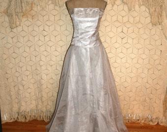 Gray Formal Dress Silver Wedding Dress Floor Length Gown Prom Dress Medium 2 Piece Formal Strapless Full Skirt Womens Vintage Clothing