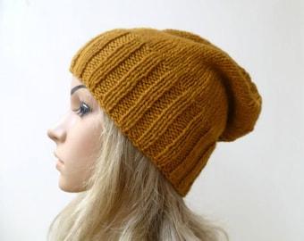 Wool Slouchy Beanie, Women's Slouch Hat. Gold Wool Beanie, Hand Knitted Hat, Wool Alpaca Eco Friendly Slouch, ClickClackKnits