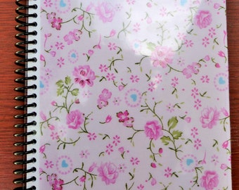 Pink Flower Fabric Spiral Journal Notebook