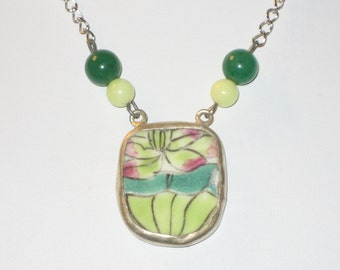 Lotus Blossom - Upcycled Petite Chinese Pottery Shard Necklace