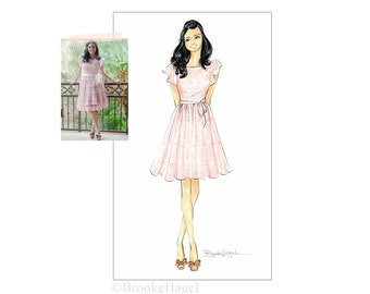 Custom Fashion Illustration. Custom Fashion Sketch. Bridesmaid Gift. Birthday Gift. Bat-Mitzvah. Gift for her. Fashion Lover. Brooke Hagel