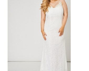 New Wedding Gown with beaded neckline size 14, 16