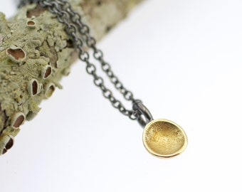 Lichen Fairy Cup Necklace Sterling Silver 18k Gold Recycled Metal Nature Jewelry