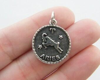2 Aries pendants  antique silver tone M383