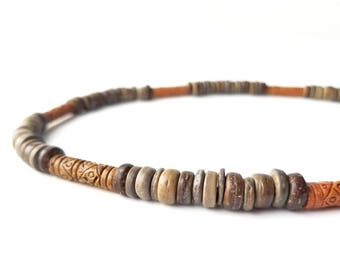 Men's jewelry made from fair trade beads - wooden necklace for men - Terra Cotta