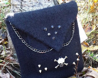 Black Felted Shoulder Bag with Silver Skull, Chains and Studs