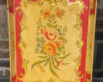 Vintage Colorful Floral Decorative Serving Tray, Made in Japan