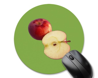 Apples mousepad, round circle or rectangular mouse pad, apple mousepad, fruit mousepad, green mousepad, red mousepad, teacher's gift