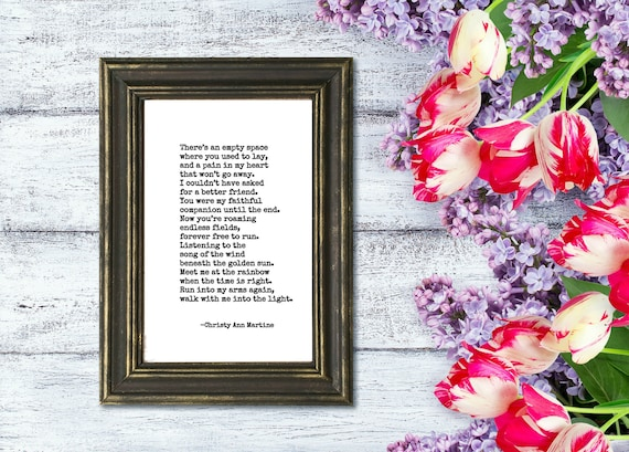 Pet Sympathy Gift for Death of Dog or Cat - Grief Poem - Pet Loss Gift - Typed Poem