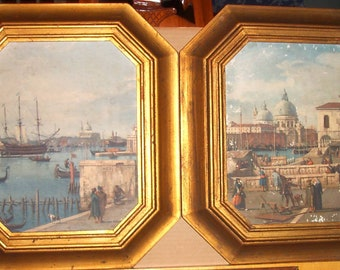Venetian Scenes by Canaletto-Lithographs on Board-Pair (2)-Framed Gold