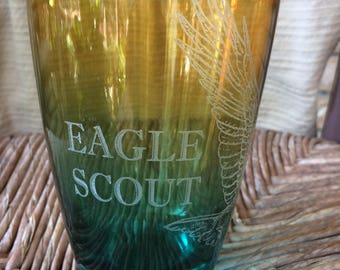 Scout Eagle Colored Glass - Laser Engraved Drinking Glass