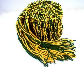 Hand Knit College Scarf GREEN and GOLD Team Scarf Forest Green and Bright Gold