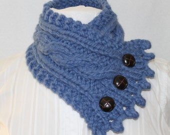 Bulky Knit Cowl, Neck Warmer, Cowl, Fishermans Wife Cowl, Womens Cowl, Fall Scarf, Chunky Knit Cowl, Marine Blue