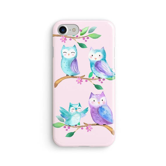 Cute owls everywhere watercolor  iPhone X case - iPhone 8 case - Samsung Galaxy S8 case - iPhone 7 case - Tough case 1P034