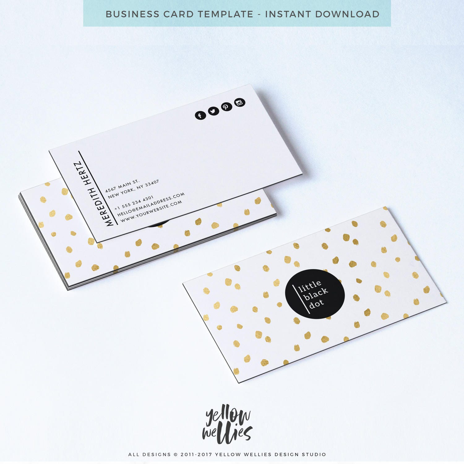 Business card template gold dot business card photoshop zoom reheart Gallery