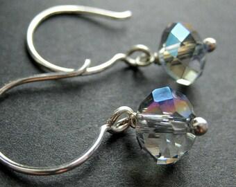 Blue Gray Dangle Earrings. Crystal Earrings in Iridescent Gray Glass and Silver. Crystal Dangle Earrings. Handmade Jewelry.