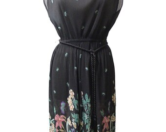 Vintage Sheer Pleated Floral Tie Back Dress