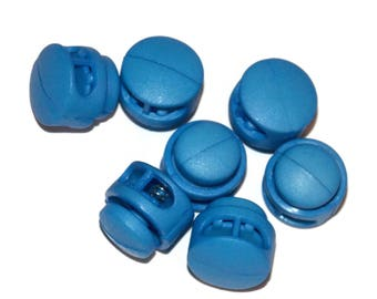 Light Blue Cord Locks for Paracord - 3mm x 6.5mm Diameter Hole Double Hole Round - Paracord Add On