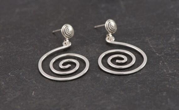 Stud Spiral Earrings- Sterling Silver Swirl Earrings- Sterling Silver Spiral Post Earrings- Stud Earrings- artulia