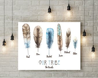 Our Tribe Boho Watercolour Feathers Family Members Personalised Custom Wall Art Print