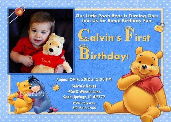 Winnie the pooh first birthday invitation blue photo option filmwisefo
