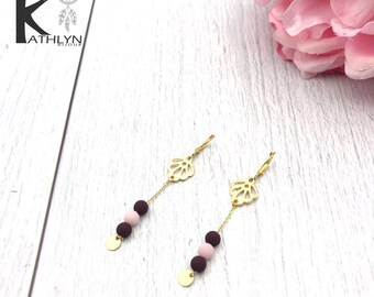 Plum and gold floral earrings