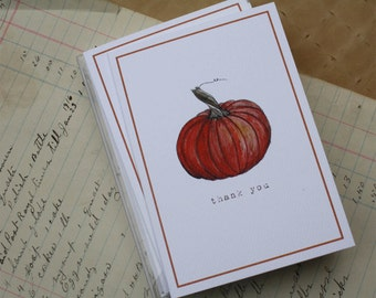 Pumpkin Notes Notecards Thank You Notes, Set of 8. Handmade Notecards Greeting Cards Packaged