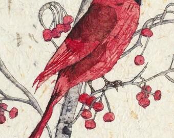 Watercolor Cardinal, Watercolor Batik, Watercolor Painting,Art Prints, Cardinal Art,Wall Decor,