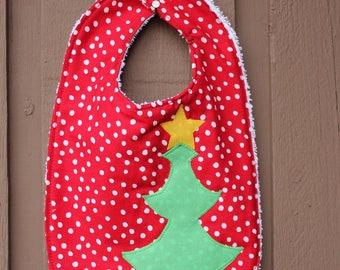 Christmas Tree Bib, baby, feeding, teething, shower gift