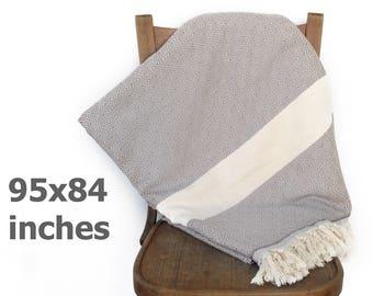 Coverlet Bedspread Turkish Throw Blanket Sofa Cover Cotton Throw Beach Blanket Tablecloth Furniture Throw Diamond Grey XXX LARGE 240 x 210cm