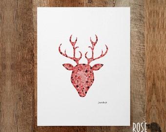 Deer, print poster, watercolor, red roe