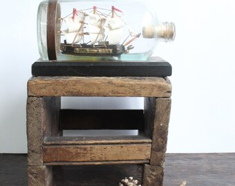 Vintage Dragon Ship in a Bottle Nautical Sailing Galleon