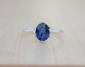 Sapphire Ring, Silver Sapphire Ring, Solitaire Ring, Solitaire Sapphire Ring, Blue Sapphire Ring, Lab Created Sapphire, Sterling Silver Ring