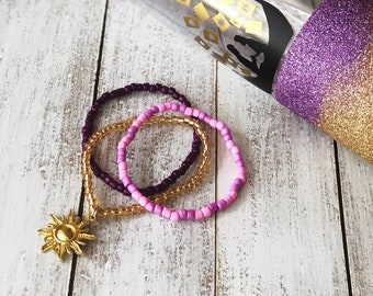 Seed Bead Bracelet Set of Three Disney Inspired Cosplay Made to Order