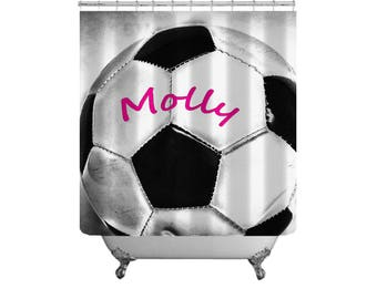 Soccer Ball Shower Curtain-Personalized Shower Curtain-Custom Bath Decor-Boys Bath Decor-Sports Bathroom-Soccer Decor-Girls Bathroom Decor