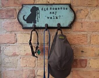 Dog Art, Leash Holder, Painted Dog Leash Hook, Leash Hanger, Dog Silhouette Art, Dog Leashes, Hook, Holder, Wall Hanging, Pet Silhouette