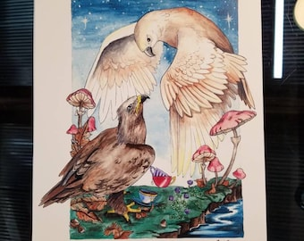 Tea Time Watercolor Painting Print