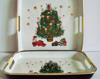 Set of 2 christmas trays