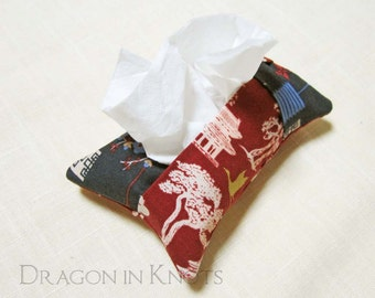 Pagoda Pocket Tissue Holder - Asian Themed Brick Red and Blue Fabric Cover for To Go Facial Tissue Packet, portable tissue case for purse